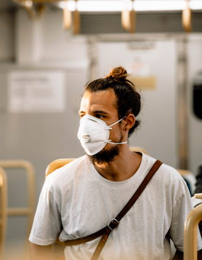 Man with face mask in the train