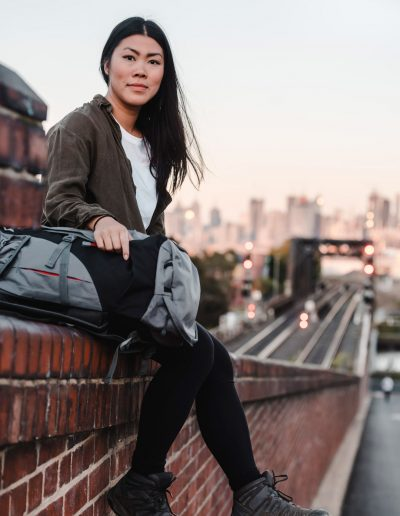 Asian backpacker girl with backpack